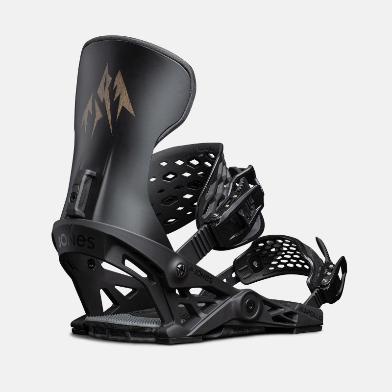 Jones Apollo Snowboard Bindings featuring SkateTech, shown in black, quarter back view