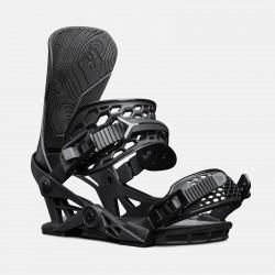 Jones Apollo Snowboard Bindings featuring SkateTech, shown in black, quarter front view