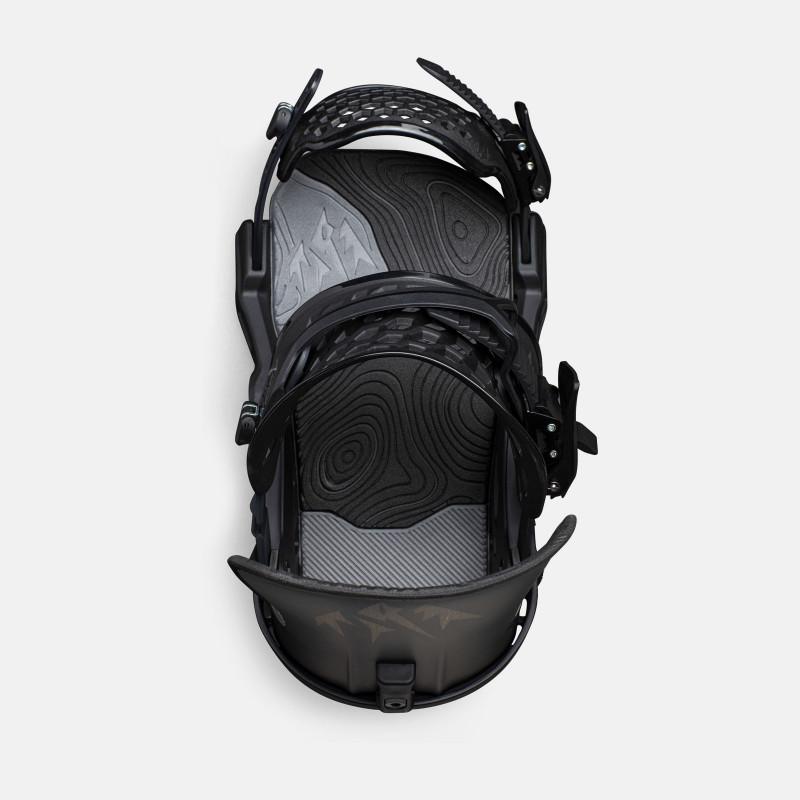 Jones Apollo Snowboard Bindings featuring SkateTech, shown in black, top view