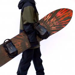 Jones Storm Chaser Snowboard, close up detail with Jones bindings