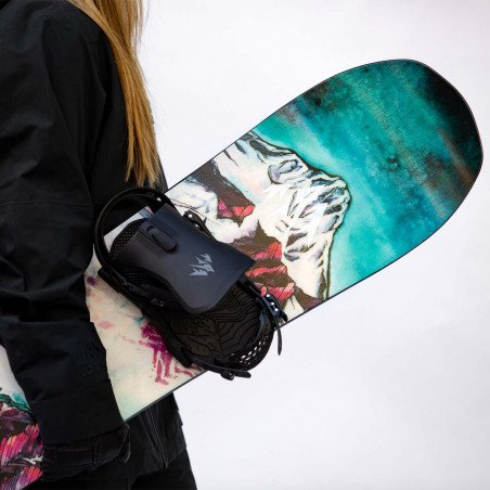 Jones Women's Dream Catcher Snowboard close up shot with Jones bindings