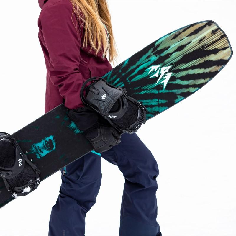 Jones Women's Mind Expander Snowboard, close up detail with Jones bindings